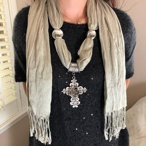 LAST 1 Deifik Silver Cross Gray Fall Scarf